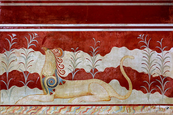 heraklion, Crete, Greece - Knossos Palace, Griffin frescoe